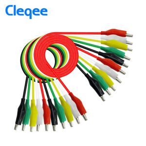 10pcs Alligator Clip Test Leads Set Wg 026 Dual Ended Jumper Wire Cable 5 Colors