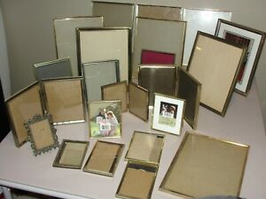 Lot 22 Vintage Art Deco Gold Brass Picture Frames Bifold 8x10 5x7 All Sizes