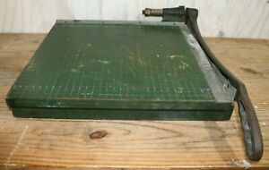 Vintage Distressed Wood Paper Cutter Cast Iron Handle Green Crafts