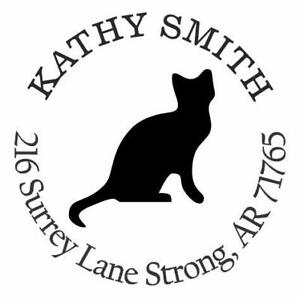 Black Cat Personalized Custom Return Address Self Inking Rubber Stamp e 76068