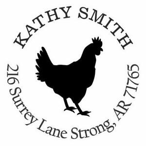 Rooster Chicken Personalized Custom Return Address Self Inking Rubber Stamp