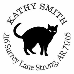 Black Cat Personalized Custom Return Address Self Inking Rubber Stamp E76078