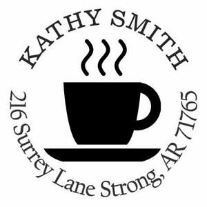 Cup Of Coffee Personalized Custom Return Address Self Inking Rubber Stamp E76316