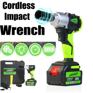 Cordless Electric Ratchet Impact Wrench Gun W Battery Charger Led Light Usa