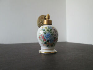Vintage Holmspray Perfume Bottle With Atomizer Porcelain Painted Flowers 3899