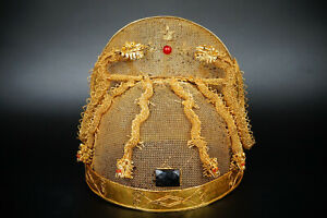 A Fine Collection Of Chinese 15thc Ming Pure Solid Gold And Silver Dragon S Cap