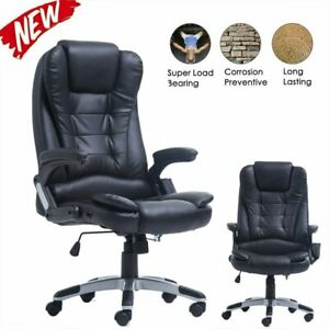 Ergonomic Massage Office Chair Desk Swivel Heated Vibrating Executive Black To