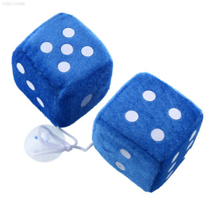 F22b Pair Blue Fuzzy Plush Dice White Dots Rear View Mirror Hangers Car Auto