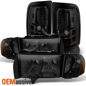 Fit 1999 2002 Dodge Ram Truck Sport Model Smoked Headlights Led Tail Lights L R