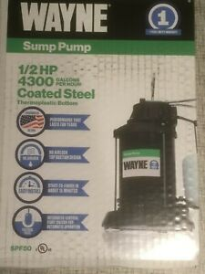 Wayne 1 2 Hp 4300 Gph Gal Per Hr Coated Steel Thermoplastic Reinforced Sump Pump