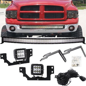 Fit Dodge Ram 2500 3500 Front Bumper 40 Led Bar W 24w Light Pod Upgrade Kits