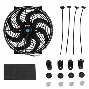 14 Inch Universal Electric Radiator Cooling Fan Thermostat Mount Kit Black