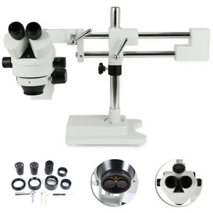 3 5x 90x Simul focal Zoom Trinocular Stereo Microscope Dual Arm Boom Adjustable