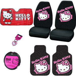 For Nissan New Hello Kitty Car Seat Steering Covers Mats Sunshade Key Chain Set