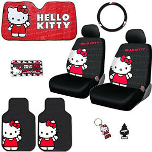 For Toyota New Hello Kitty Core Car Seat Steering Covers Mats Accessories Set