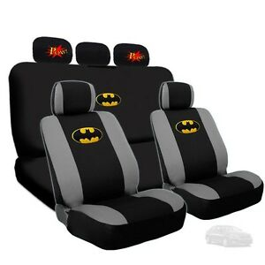 For Kia Batman Deluxe Car Seat Covers And Classic Pow Logo Headrest Covers