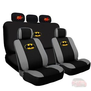 For Honda Batman Deluxe Car Seat Covers And Classic Pow Logo Headrest Covers