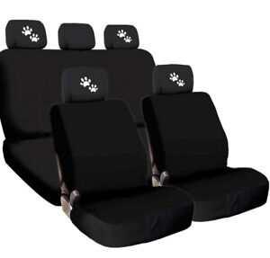 For Ford New 4x White Paws Logo Headrest And Black Fabric Seat Covers