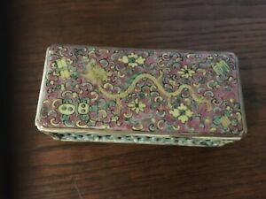 Antique Chinese Porcelain Famille Rose Dragon Cricket Box Pattern Scroll Weight