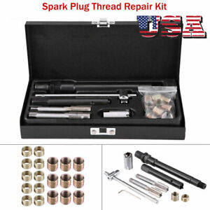 25pcs Car Spark Plug Thread Repair Tools Kit With Case M14 1 25 Tap Us Seller