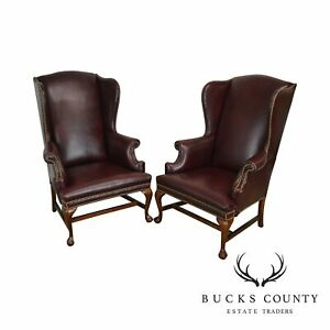 Oxblood Red Leather Chippendale Style Pair Claw Foot Wing Chairs