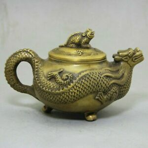 6 Old Chinese Fengshui Copper Bronze Carving Dragon Toad Wine Tea Pot Flagon