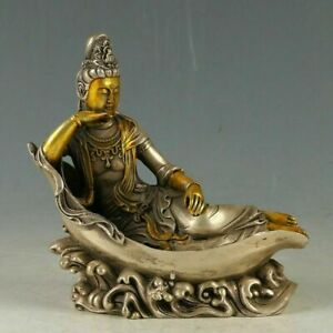 Chinese Copper Gold Gilding Hand Carved Bodhisattva Statue