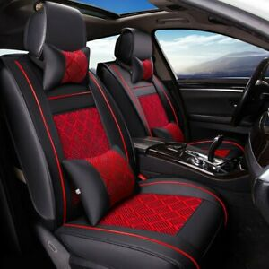 5 seat Suv Seat Cover Cooling Mesh Pu Leather Front rear Car Cushion W pillow