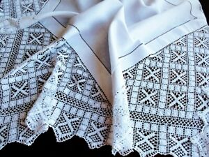 St Andrew S Cross Of Scotland Antique Handmade Lace White Linen Tablecloth 45