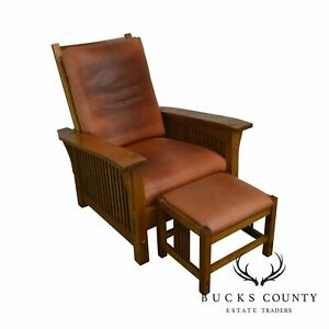 Stickley Mission Collection Oak Spindle Morris Chair W Footstool