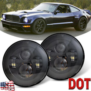 Black 7inch Round Led Projector Hi lo Beam Headlights For Ford Mustang 1965 1978