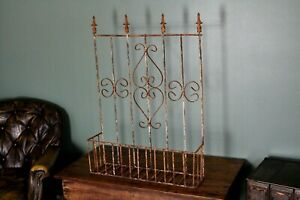 Vintage Ornate Wrought Iron Wall Or Table Mount Garden Basket Shelf Chippy Paint