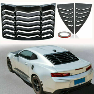 Rear side Window Louver Sun Shade Cover Matte Black Fits 2010 2015 Chevy Camaro