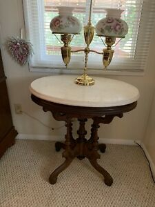 Antique Victorian Eastlake Carved Oval Walnut Marble Top Parlor Table