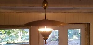 Pair Mid Century Modern Atomic Lightolier Brass And Wood Pulley Light C 1950