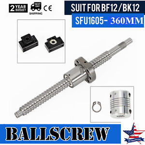 Anti backlash Ball Screw Sfu1605 L360mm bk bf12 End Support 6 35 10mm Coupling