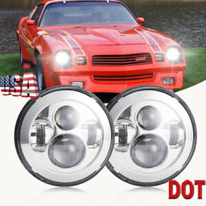 7 Round Led Headlights Hi Lo Sealed Beam Projector Lamps For Chevy Truck Camaro