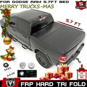 For 2009 2019 Dodge Ram 5 7ft Bed Cover Hard Trifold Solid Fold Tonneau Cover