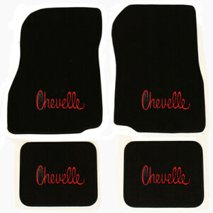 New 1968 1972 Chevelle Floor Mats Black Carpet Embroidered Red Logo On All 4