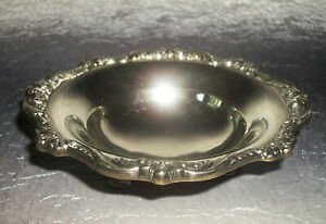 Antique Vintage Poole England Silver Footed Candy Nut Dish Ornate Floral Pattern