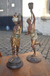 Pair Antique Colour Painted Spelter Figures Of Man Woman In Traditional Clothing