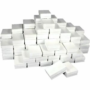 100 Cardboard And Paper Cotton Filled Jewelry Gift Boxes 3 1 2 X 3 1 2 X 1 h
