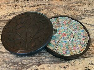 Exceptional 19th Century Chinese Famille Rose Sweetmeat Set In Carved Box