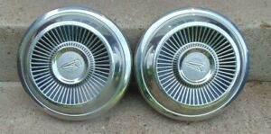 Pair Of 1960s Oldsmobile Dog Dish Hubcaps 10 Inch
