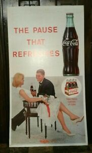 "Coca Cola Coke Cardboard Litho Advertisement Sign USA Made 36"" X 20"" OLD"