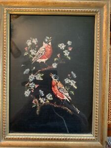 Antique Petit Point Needlepoint Bird Picture Frame Under Glass Early 1900s 16x12