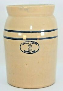 Marshall Pottery Crock 2 Gallon Stoneware Butter Churn From Texas Made In Usa