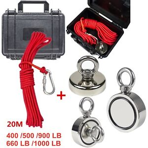 400 900lb Pull Force Fishing Magnet Super Strong Neodymium Treasure Hunt rope Us