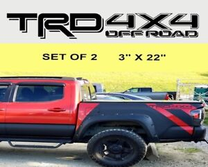 2x Trd 4x4 Off Road Toyota Tacoma Tundra Vinyl Bed Side Decals Stickers