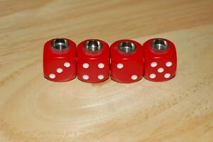 Dudds Dice Red Opaque W White Dots Valve Stem Caps 4 Pack 26